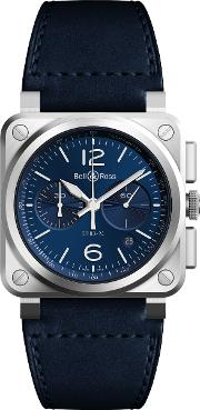 Br0394 Blu Stsca Men's Chronograph Leather Strap Watch