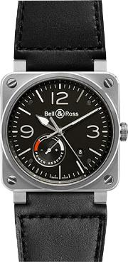 Br0397 Bl Sisca Men's Aviation Date Leather Strap Watch