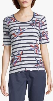 Nautical Stripe With Floral Print Top