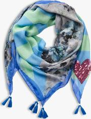 Sequin Heart Floral Scarf