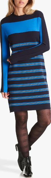 Striped Pattern Round Neck Jersey Dress