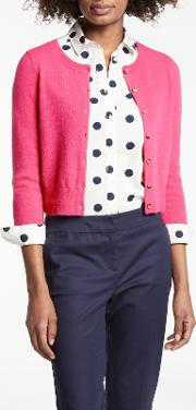 Cashmere Crop Crew Neck Cardigan