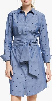 Polka Dot Tie Waist Shirt Dress