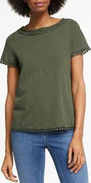 Thelma Lace Trim Jersey T Shirt