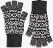 Cashmere Abstract Pattern Fingerless Gloves