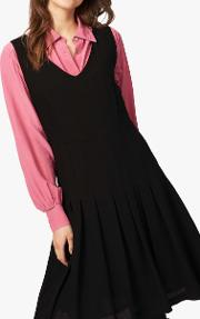 Pleated Wool Pinafore Dress