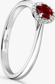 18ct White Gold Round Ruby And Diamond Cluster Engagement Ring