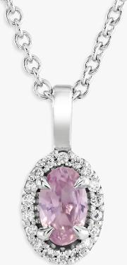 9ct White Gold Pink Sapphire And Diamond Pendant Necklace