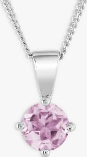 9ct White Gold Pink Sapphire Round Pendant Necklace