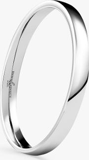 Women's 9ct White Gold 2mm Low Dome Court Shape Wedding Ring