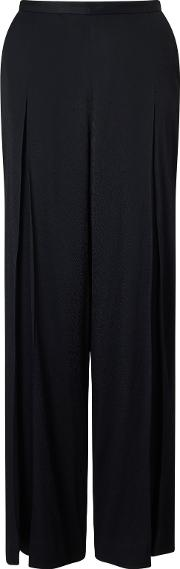 Wide Leg Textured Trousers, Black
