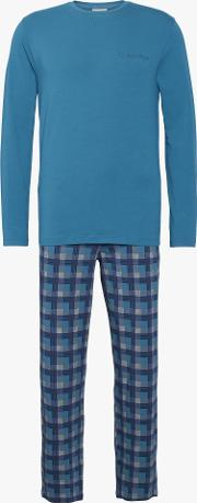 Long Sleeve T Shirt And Check Trousers Pyjama Set