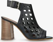 Arc Laser Cut Block Heel Sandals