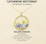 18ct Gold Plated Large Wildflowers Round Pendant Necklace