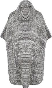 Alba Cable Knit Poncho, Grey