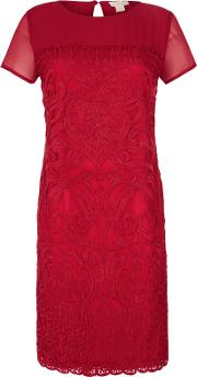 Jasmine Embroidered Lace Dress, Red