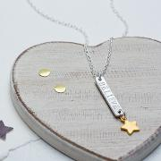 Personalised Skinny Bar And Star Necklace