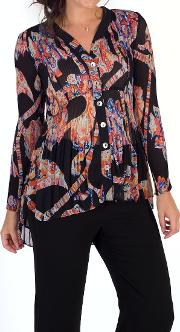Abstract Print Crush Pleat Blouse