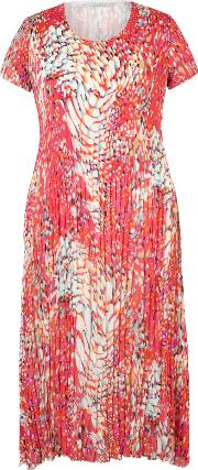 Bubble Print Chiffon Crush Pleat Dress, Bright Pink