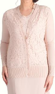 Corded Lace Trim Cardigan