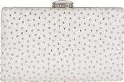 Floral Lace Diamante Clutch Bag, Ivory