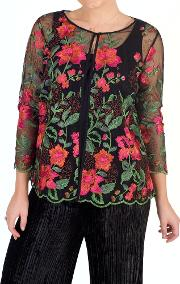 Scallop Trim Embroidered Jacket