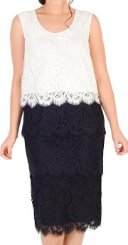 Scallop Trim Tiered Lace Dress