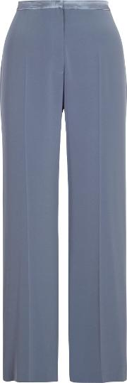 Top Stitched Waist Satin Back Trousers