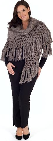 Wool Blend Large Fringed Shawl With Crocheted Panel