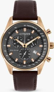 At2393 17h Men's Caliber Eco Drive Chronograph Date Leather Strap Watch