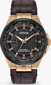 Cb0168 08e Men's Eco Drive World Perpetual A T Date Leather Strap Watch