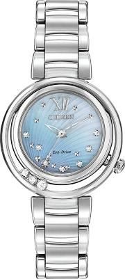 Em0320 59d Women's Sunrise Diamond And Mother Of Pearl Eco Drive Stainless Steel Bracelet Strap Watch