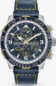 Jy8078 01l Men's Promaster Skyhawk At Chronograph Eco Drive Leather Strap Watch