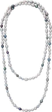 Long Rice Freshwater Pearl Necklace, Silvermulti
