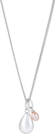 Sterling Silver Nugget And Pearl Pendant Necklace