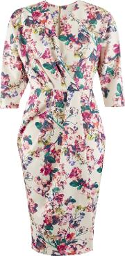Floral Print Scuba Wrap Dress, Multi