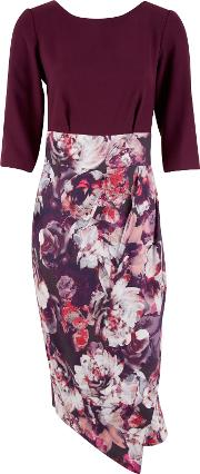 Floral Wrap Dress, Purple