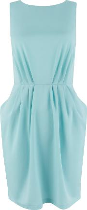 Gathered Waist Dress, Aqua