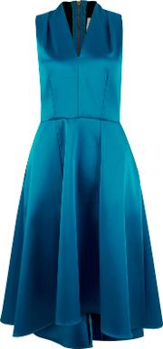 High Low V Neck Dress, Blue