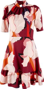 Large Print Peplum Dress, Multi