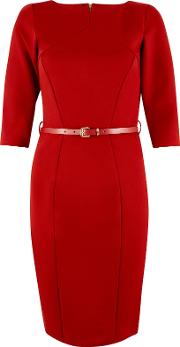 Panel Belted Bodycon Dress, Red