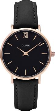 Cl30022 Women's Minuit Rose Gold Leather Strap Watch