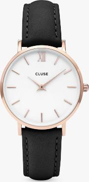 Women's Minuit Rose Gold Leather Strap Watch