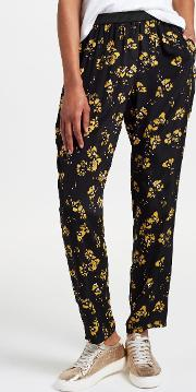 Artist Brush Stroke Floral Print Trousers