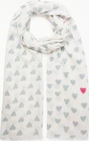 Brushed Hearts Cotton Scarf