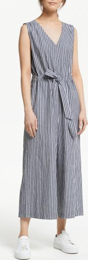Chambray Cotton Stripe Jumpsuit