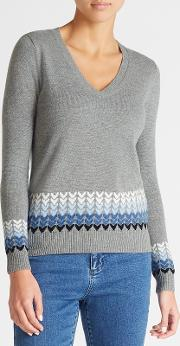 Ombre Hearts V Neck Sweater