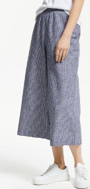 Wide Leg Cotton Linen Stripe Culottes