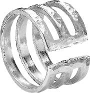 Sterling Silver 12mm Triple Band Ring, Silver