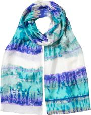 Abstract Stripe Silk Scarf